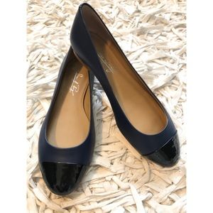 Shoes of Prey Dark Blue and Black Patent Flats